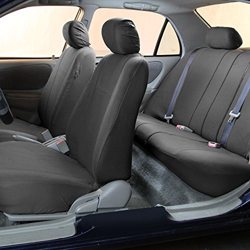 Amazon FH GROUP FB052115 Full Set Multifunctional Flat Cloth Car Seat Covers Airbag Ready And Split Charcoal Color