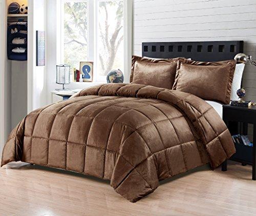 Goose Down Alternative Comforter 3pcs set ,Flannel Queen size 90