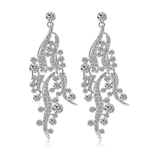 Beuu New Jewelry Earrings Fashion Zircon earrings Diamond-encrusted love heart earring for girls (L)