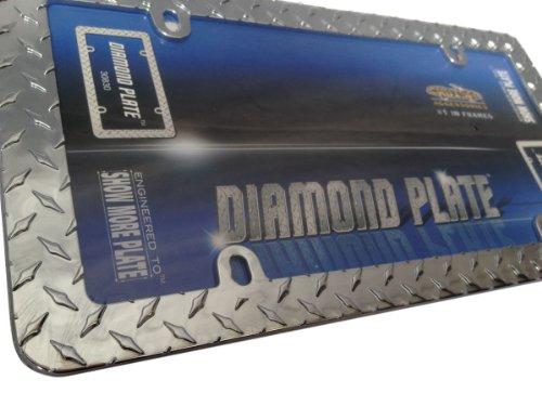 Classic Frames Diamond Plate Chrome Metal License Plate Frame - Heavy Duty Grid Iron (Diamond Plate Pattern)