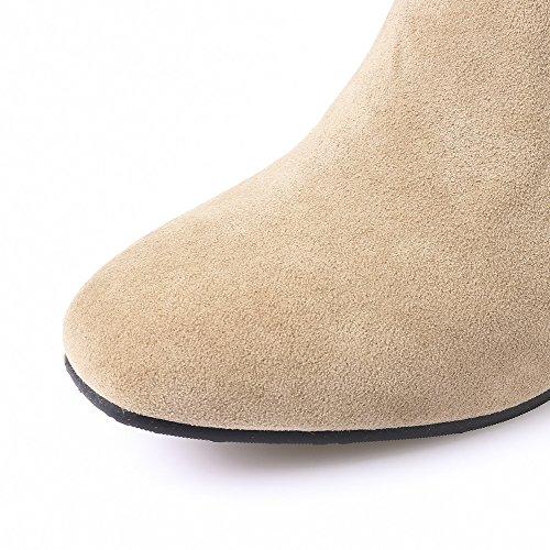 AllhqFashion Damen Reißverschluss Niedriger Absatz Rein Quadratisch Zehe Stiefel Cremefarben