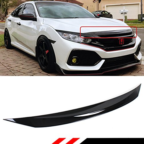 Fits for 2016-2019 Honda Civic 10th Gen Si Hatchback Coupe Sedan Glossy Black Front Hood Bumper Upper Trim Nose Cover
