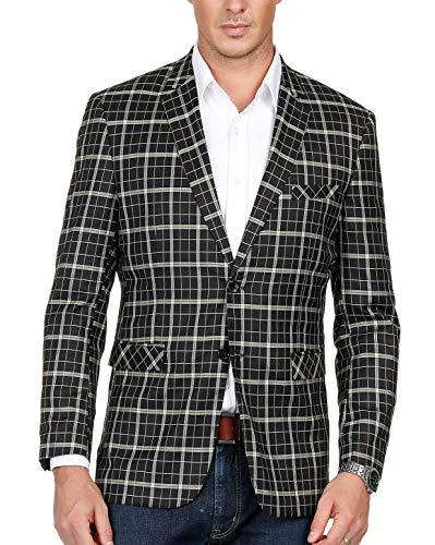 Men's Slim Fit Suits Casual Two Buttons Plaid Blazer Jacket Black ()