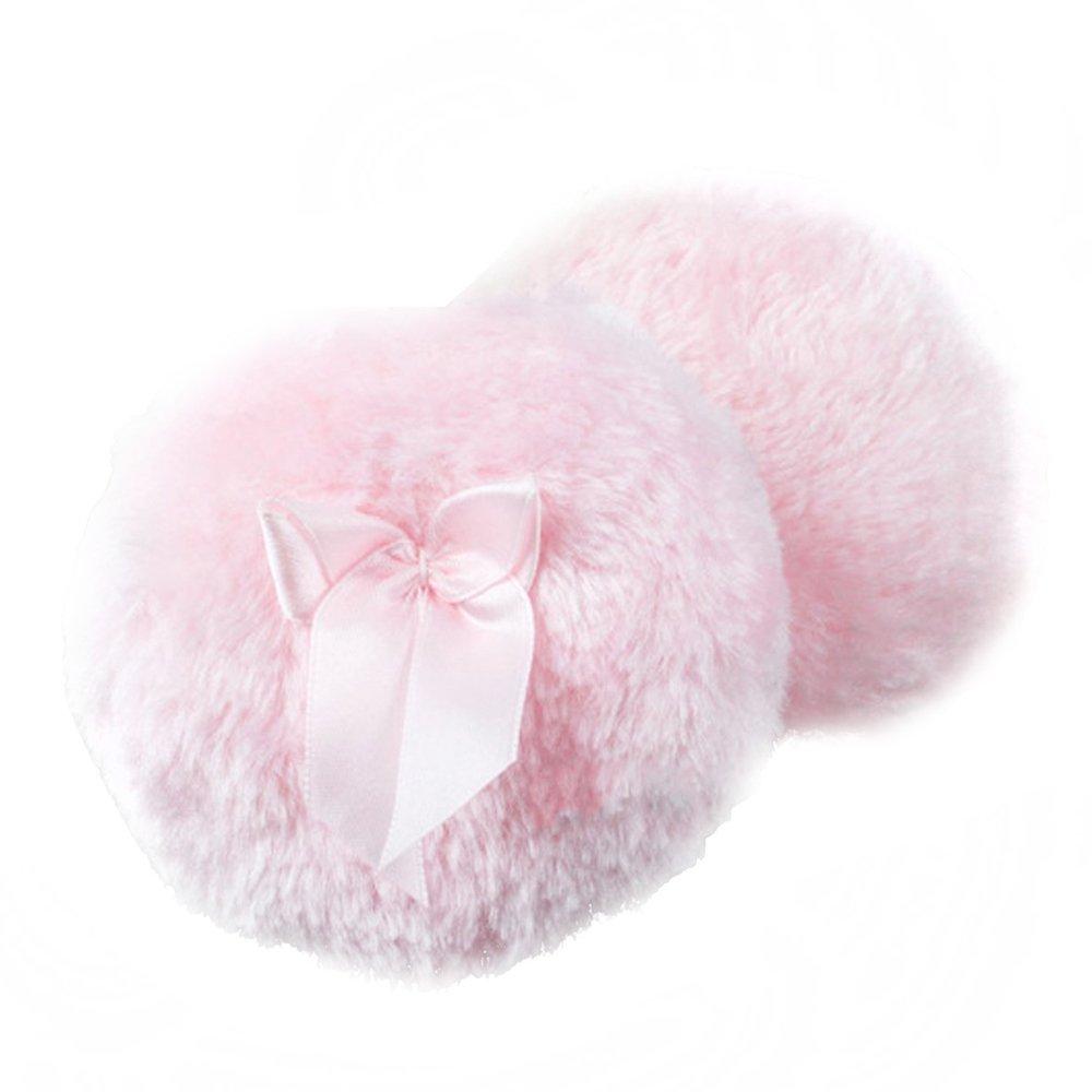 QianSheng Confortevole Bambino piccolo Corpo Spolverare Puffoni della polvere Talco Powders Puff con Bowknot carino - Diametro da 3.5inch (rosa)