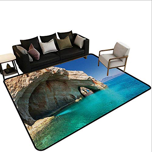 Contemporary Indoor Area Rugs Greece,Sea Cave on Zakynthos Island Greece Vacation Relaxing Seascape Coastline Picture,Tan Light Blue,for Living Room Bedrooms Kids Nursery Home Decor 2'x 4'