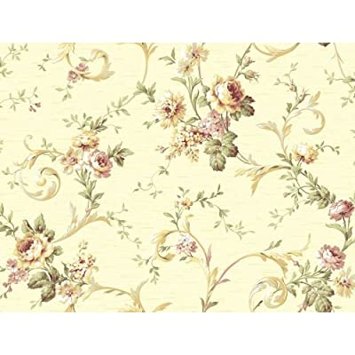 York Wallcoverings Willow Woods Floral Scroll Trail Wallpaper