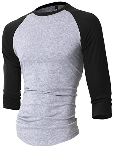 HC Mens Baseball Raglan 3/4 Sleeve T Shirt (2X-Large, Gray/Black)