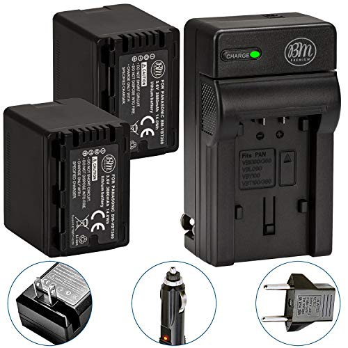 (BM Premium 2 VW-VBT380 Batteries and Charger for Panasonic HC-V800K, HC-VX1K, HC-WXF1K, HCV510, HCV520, HC-V550, HCV710, HC-V720, HC-V750, HC-V770, HC-VX870, HC-VX981, HCW580, HC-W850,)