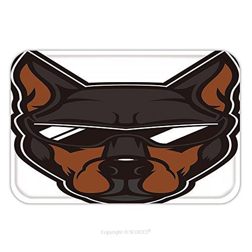 Purdue Mascot Name (Flannel Microfiber Non-slip Rubber Backing Soft Absorbent Doormat Mat Rug Carpet Elite Doberman Head Mascot A Doberman Dog Wearing Sunglasses 595177283 for Indoor/Outdoor/Bathroom/Kitchen/Workstations)