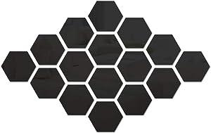 Hexagon Sticker 42 PCS Hexagonal Detachable Mirror Acrylic Wall Sticker Self-Adhesive Six-Sided Home Living Room Bedroom Shop Art Decoration (Large, Black)