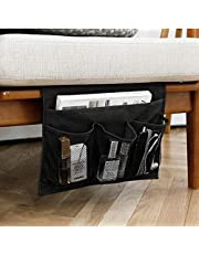 HAKACC Bedside Caddy/Bedside Storage Organizer,Under Couch Table Mattress,Book Remote Glasses Caddy,Black