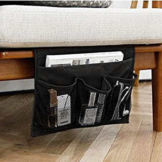 HAKACC Bedside Caddy/Bedside Storage Organizer,Remote Control Holder Armchair Organizer Couch Caddy Sofa Armrest Bag for Tablet Magazine Phone Remotes, Black