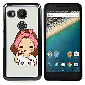 Art Pink Grey Drawing Sweet Baby Mother Caja protectora de pl??stico duro Dise?¡Àado King Case For LG Google Nexus 5X