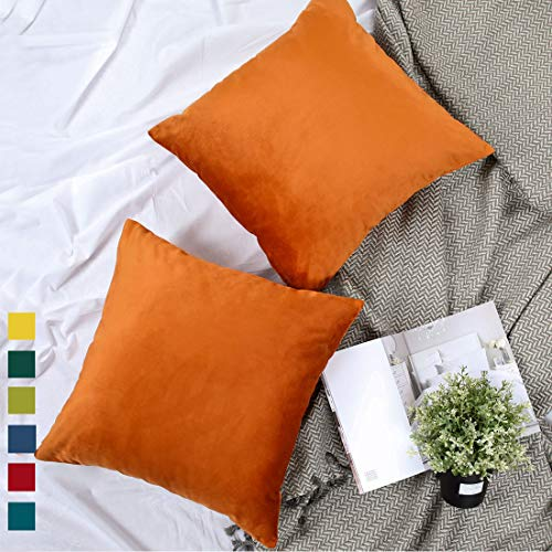 YINFUNG Copper Pillow Cover Velvet Burnt Orange Boho Furry Throw Pillow Cases Mustard Yellow Toss Pillow Covers 18x18 Couch Sofa Bed Decorative Cushion Cover Mustard Set of 2
