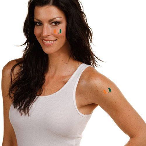NCAA Miami Hurricanes 4-Pack Temporary Tattoos (Football Temporary Tattoos)