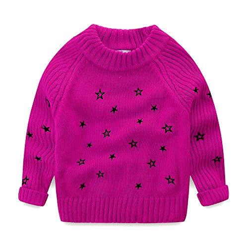 Mud Kingdom Little Girls Pullover Sweaters Cute Embroidered Stars 4T Rose Red ()