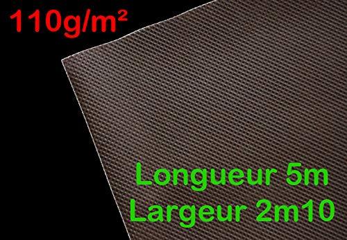 Longueur 5m Largeur 2,10m 110g//m/² Feutre Toile de Paillage//G/éotextile Non tiss/é