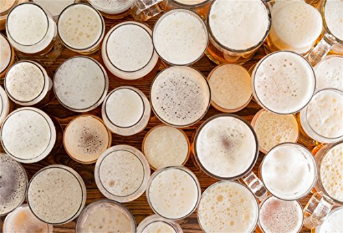 CSFOTO 6x4ft Background for Assortment of Full Frothy Beer Glasses and Sizes Photography Backdrop Oktoberfest Variety Serve Drink Beer Garden Bar Club Tavern Photo Studio Props Polyester (Tavern Pint Glass)