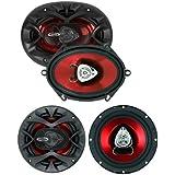 2) BOSS CH5720 5x7 2-Way 450W Car Audio Speakers + 2) BOSS 6.5 250W Speakers