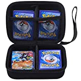 COMECASE Hard Carrying Case Compatible with Pokemon Trading Cards, Card Game Holder Storage Holds Up to 400 Cards. Removable Divider and Hand Strap Black