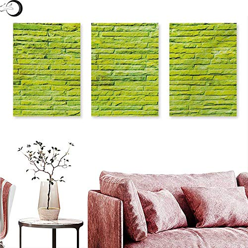 Mannwarehouse Lime Green Landscape Canvas Pastel Wall Vibrant Toned Brick Background Modern Urban Style Artistic Boho Triptych Art Apple Green W 20
