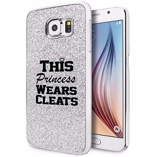 Softball Glitter (For Samsung Galaxy S6 Edge+ Plus Glitter Bling Hard Case Cover This Princess Wears Cleats Softball Soccer Lacrosse (Silver))