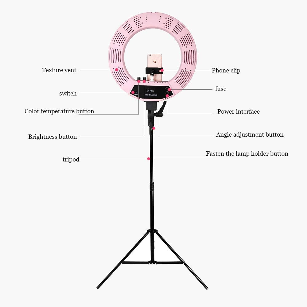 JION Led Ring Light 18 Inch External YouTube Light 360 Dimmable Led Lighting Kit Portrait Mobile Phone Holder for Video Capture YouTube Video Makeup