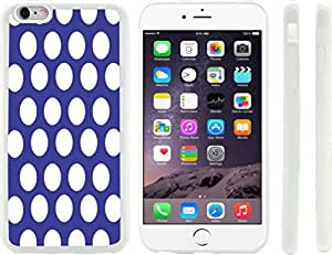 Rikki KnightTM Blue Polka Dots Design iPhone 6 Plus Case Cover (Clear Rubber with raised front bumper protection) for Apple iPhone 6 Plus