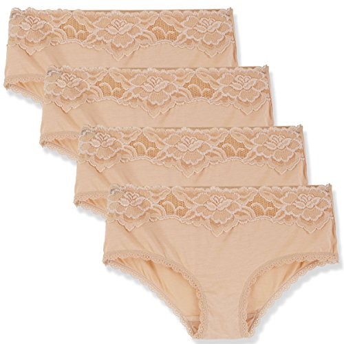 LIQQY Women's 4 Pack Super Soft Breathable Lace Trim Hipster Panty Underwear (X-Large, Nude)