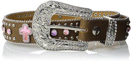 M&F Western Girls' Crystal Cross Belt (Little Big Kids), Brown, 22