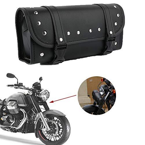 Qlhshop Motorcycle Front Fork Tool Bag PU Leather Handlebar Bags Motorbike Black Saddlebag for Yamaha Harley Davidson Sportster Softail Dyna ()