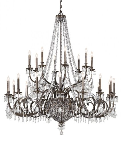 English Bronze Vanderbilt 24 Light Candle Style Chandelier with Hand-Polished Crystals