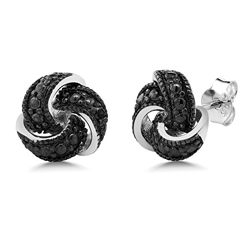 gorgeous-925-sterling-silver-black-diamond-knot-antique-style-stud-earrings