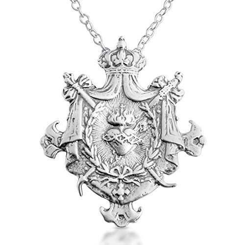 - 925 Sterling Silver Sacred Heart of Jesus Shield Pendant
