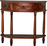 Brown Carved Half Moon Wall Table 3867 by International Caravan