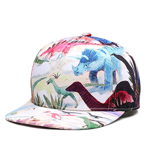 SUPERCB Unisex's Cap Snapback Adjustable Hat Plain Baseball 3D Print Hip Hop Animal Dinosaurs ()