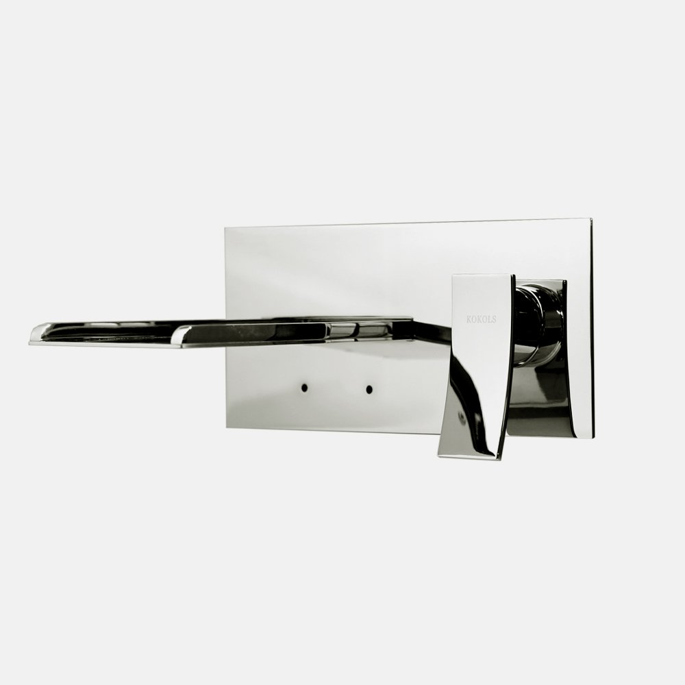 Kutiel 1-Handle Wall-Mount Color Change LED Roman Tub Faucet in Chrome by HTU