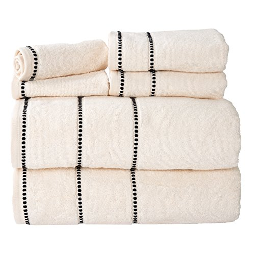 Luxury Cotton Towel Set- Quick Dry, Zero Twist and Soft 6 Piece Set With 2 Bath Towels, 2 Hand Towels and 2 Washcloths By Lavish Home (Bone / ()