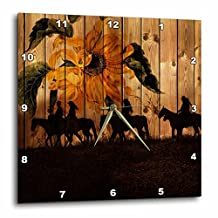 3D Rose dpp_150190_3 3dRose Western Cowgirl Silhouettes Against Barn Wood with a Vintage Sunflower and Meadow -Wall Clock 15-inch