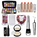 Adbeni Summer Vacation Combo Offer Orange Lipstick 4Pc, Lipgloss 1Pc, Kajal 1Pc, Eyeliner 1Pc, Compact 1Pc (Assorted), 18 Color Eyeshadow 1Pc (Pad A)