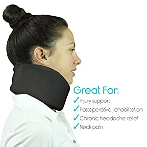 Neck Brace by Vive - Cervical Collar - Adjustable Soft Support Collar Can Be Used During Sleep - Wraps Aligns & Stabilizes Vertebrae - Relieves Pain & Pressure in Spine (4 Inch)(Black)