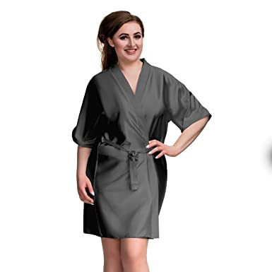 a328aea1483 ... Grey Classic Robe Kimono Satin Short Sleeve Dressing Gown Satin  Bridesmaid Wrap Plus Size 8 10 12 14 16 18 20 22 24 26 28 UK  Amazon.co.uk   Clothing