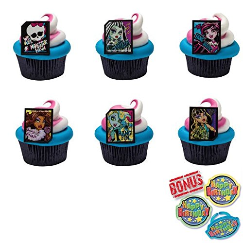 Monster High Ghoulfriends Cupcake Toppers and Bonus Birthday Ring - 25 piece by Bundle of Fun