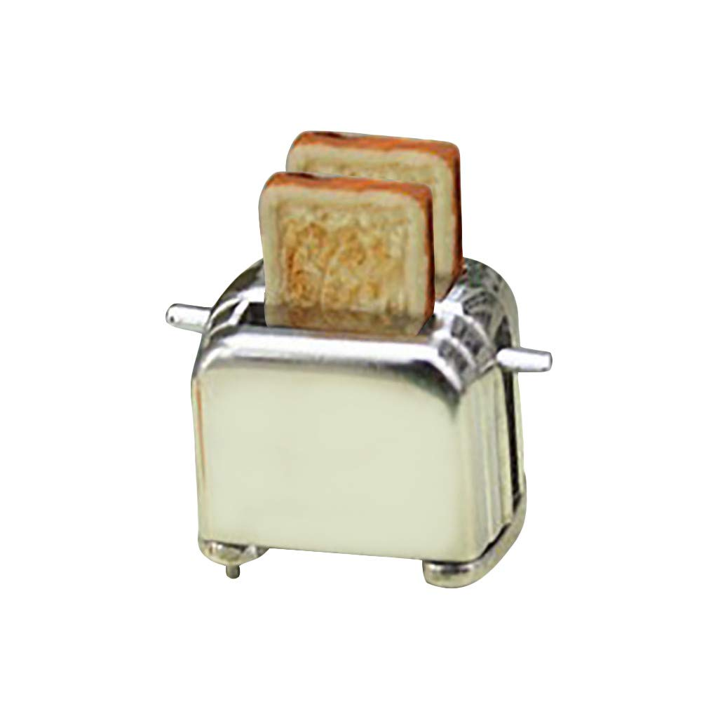 Shisay Dollhouse Furniture and Accessories Silver Mini Bread Machine for 1:12 Miniature Doll House Bedroom Living Room Accessory Scene Crafts Model Decoration (Silver Base)