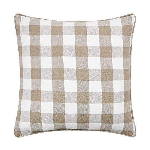 (C&F Home Franklin Buffalo Check Gingham Plaid Woven Clay Tan and White Double Sided Decorative Pillow 20 x 20 Clay Natural Tan)