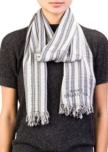 Versace Collection Women's Striped Pattern Cotton Scarf White - Versace Collection 2014