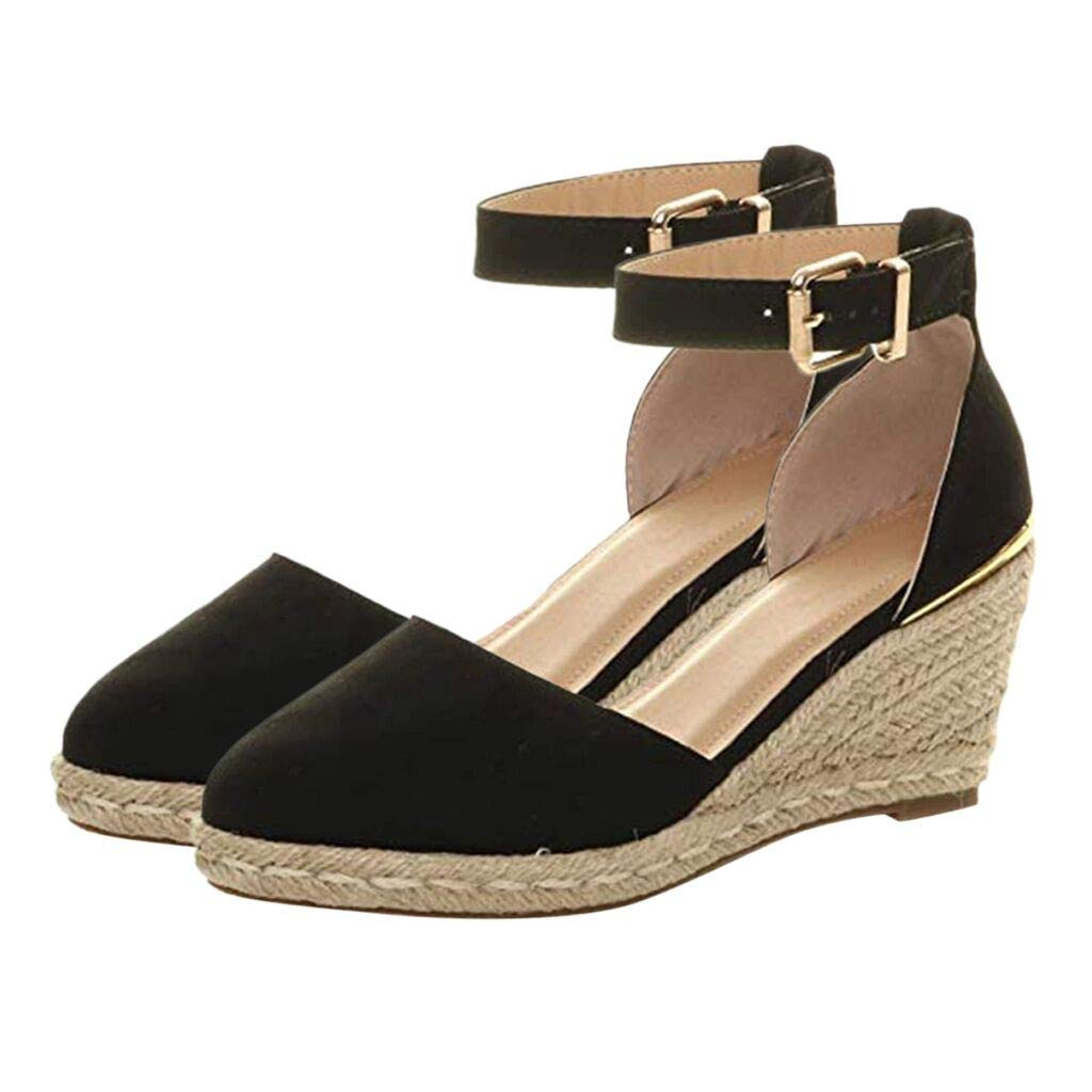 Sandals THENLIAN Women' Buckle Ankle Strap Sandals Wedges Sandals Summer Weaving Breathable Shoes(41, Black)