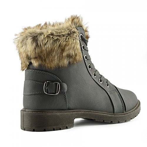 up Fur Hiker Warm Grey Boots Faux Grip Kick Footwear Lace Sole Ankle Midi Womens Boots Winter Lined FSqT8t