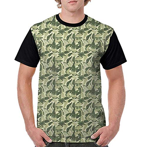 (Female Baseball Short Sleeve,Banana Leaf,Caribbean Exotic Tree Foliage with Vintage Look in Green Shades, Pale Green Dark Green S-XXL Short Sleeve Round Neck)