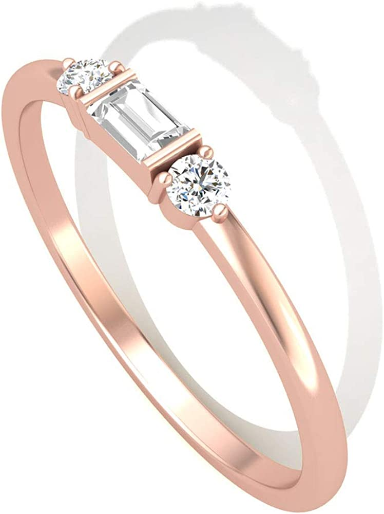 Anillo redondo Baguette IGI con diamante certificado, oro, tres piedras, cumpleaños, aniversario, mujer, regalo para el día de la madre